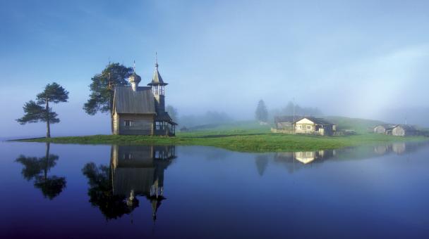 Деревня Глазово в тумане